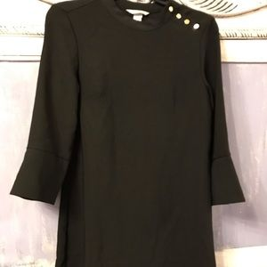 H & M midi black dress  size 4 with gold buttons